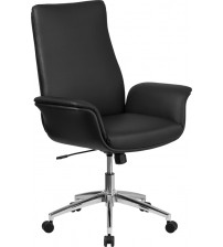 Flash Furniture BT-88-MID-BK-GG Mid-Back Leather Executive Swivel Chair with Flared Arms in Black