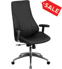 Flash Furniture BT-90068H-GG High Back Black Leather Executive Swivel Office Chair
