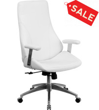Flash Furniture BT-90068H-WH-GG High Back White Leather Executive Swivel Office Chair