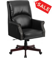 Flash Furniture BT-9025H-2-GG High Back Pillow Back Black Leather Executive Swivel Office Chair