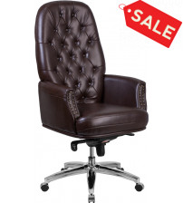 Flash Furniture BT-90269H-BN-GG High Back Traditional Tufted Brown Leather Multifunction Executive Swivel Chair With Arms