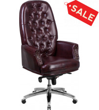 Flash Furniture BT-90269H-BY-GG High Back Traditional Tufted Burgundy Leather Multifunction Executive Swivel Chair With Arms