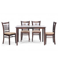 Baxton Studio Cathy Dining Set Cathy Wood Dining Set in Brown