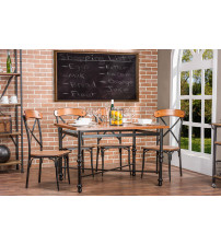 Baxton Studio CDC222 5PC Dining Set Broxburn 5-Piece Dining Set