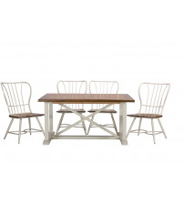 Baxton Studio CDC271 7 PC Dining Set Longford Vintage Industrial 7-Piece Dining Set