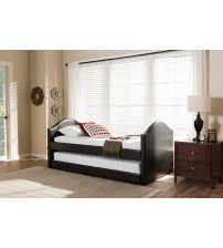 Baxton Studio CF8751-Brown-Day Bed Alessia Dark Brown Faux Leather Upholstered Daybed with Guest Trundle Bed