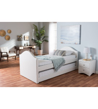 Baxton Studio CF8751-White-Day Bed Alessia White Faux Leather Upholstered Daybed with Guest Trundle Bed