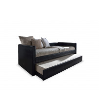 Baxton Studio CF 8519-Black-Day Bed Risom Black Faux Leather Upholstered Twin Size Daybed Bed Frame with Trundle