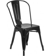 Flash Furniture CH-31230-BK-GG Black Metal Indoor-Outdoor Stackable Chair