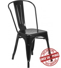 Flash Furniture CH-31230-BK-GG Black Metal Indoor-Outdoor Stackable Chair