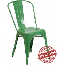 Flash Furniture CH-31230-GN-GG Green Metal Indoor-Outdoor Stackable Chair