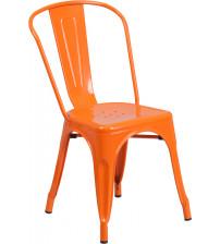 Flash Furniture CH-31230-OR-GG Orange Metal Indoor-Outdoor Stackable Chair