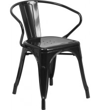 Flash Furniture CH-31270-BK-GG Black Metal Indoor-Outdoor Chair with Arms