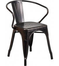 Flash Furniture CH-31270-BQ-GG Antique Metal Chair With Arms in Black
