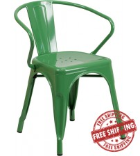 Flash Furniture CH-31270-GN-GG Green Metal Indoor-Outdoor Chair with Arms