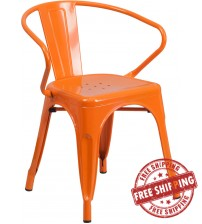 Flash Furniture CH-31270-OR-GG Orange Metal Indoor-Outdoor Chair with Arms