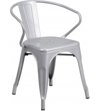 Flash Furniture CH-31270-SIL-GG Silver Metal Indoor-Outdoor Chair with Arms