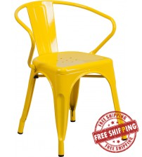 Flash Furniture CH-31270-YL-GG Yellow Metal Indoor-Outdoor Chair with Arms