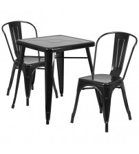 Flash Furniture CH-31330-2-30-BK-GG Metal Table Set in Black