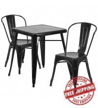 Flash Furniture CH-31330-2-30-BK-GG Metal Table Set in Black