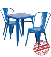 Flash Furniture CH-31330-2-30-BL-GG Metal Table Set in Blue