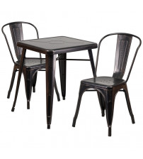 Flash Furniture CH-31330-2-30-BQ-GG Antique Metal Table Set in Black