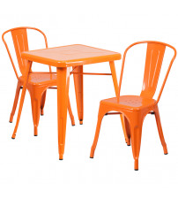Flash Furniture CH-31330-2-30-OR-GG Metal Table Set in Orange