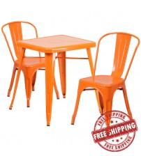 Flash Furniture CH-31330-2-30-OR-GG Metal Table Set in Orange