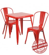 Flash Furniture CH-31330-2-30-RED-GG Metal Table Set in Red