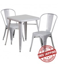 Flash Furniture CH-31330-2-30-SIL-GG Metal Table Set in Silver