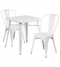 Flash Furniture CH-31330-2-30-WH-GG Metal Table Set in White