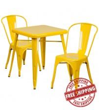 Flash Furniture CH-31330-2-30-YL-GG Metal Table Set in Yellow