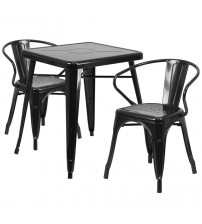 Flash Furniture CH-31330-2-70-BK-GG Metal Table Set in Black