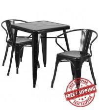 Flash Furniture CH-31330-2-70-BK-GG Metal Table Set in Black
