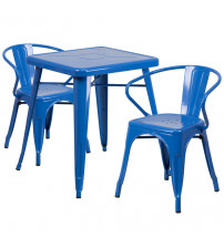 Flash Furniture CH-31330-2-70-BL-GG Metal Table Set in Blue