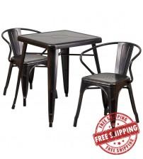 Flash Furniture CH-31330-2-70-BQ-GG Antique Metal Table Set in Black