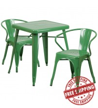 Flash Furniture CH-31330-2-70-GN-GG Metal Table Set in Green