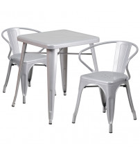 Flash Furniture CH-31330-2-70-SIL-GG Metal Table Set in Silver