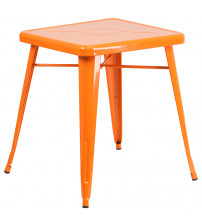 Flash Furniture CH-31330-29-OR-GG Square Metal Table in Orange
