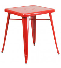 Flash Furniture CH-31330-29-RED-GG Square Metal Table in Red