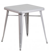 Flash Furniture CH-31330-29-SIL-GG Square Metal Table in Silver
