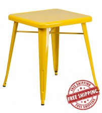 Flash Furniture CH-31330-29-YL-GG Square Metal Table in Yellow