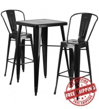Flash Furniture CH-31330B-2-30GB-BK-GG Metal Bar Table Set in Black