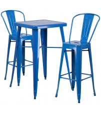 Flash Furniture CH-31330B-2-30GB-BL-GG Metal Bar Table Set in Blue