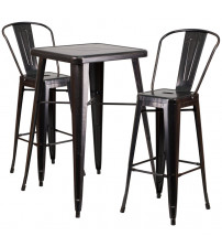 Flash Furniture CH-31330B-2-30GB-BQ-GG Antique Metal Bar Table Set in Black