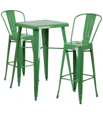 Flash Furniture CH-31330B-2-30GB-GN-GG Metal Bar Table Set in Green