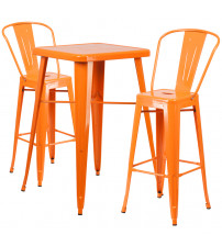 Flash Furniture CH-31330B-2-30GB-OR-GG Metal Bar Table Set in Orange