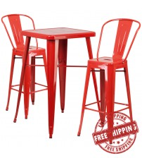 Flash Furniture CH-31330B-2-30GB-RED-GG Metal Bar Table Set in Red