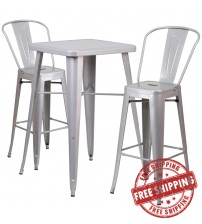 Flash Furniture CH-31330B-2-30GB-SIL-GG Metal Bar Table Set in Silver