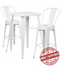 Flash Furniture CH-31330B-2-30GB-WH-GG Metal Bar Table Set in White